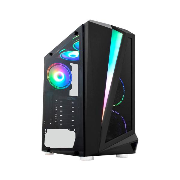 Imagem de GABINETE GAMER K-MEX CG-05QI BLACK HAWK LED RGB S/ FAN PRETO - CG05QIRH0010B0X