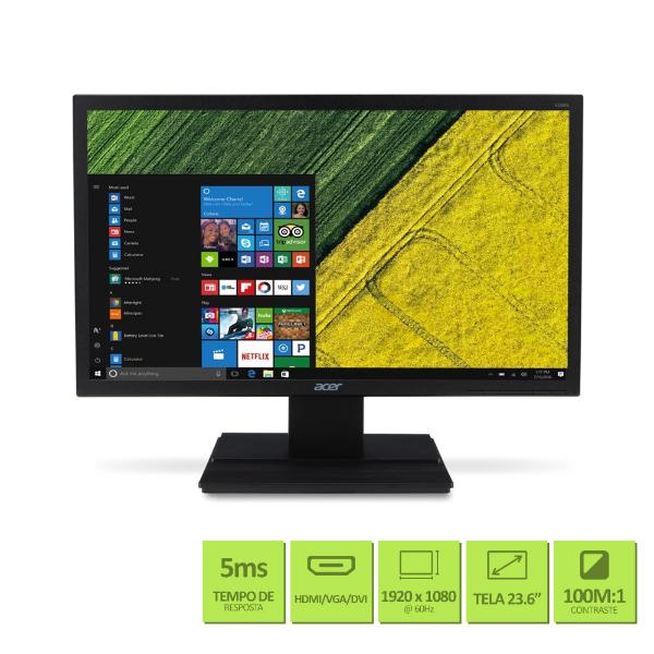 "Imagem de MONITOR LED 23,6"" ACER V246HQL FULL HD / VGA / HDMI / DVI / VESA / 5MS"