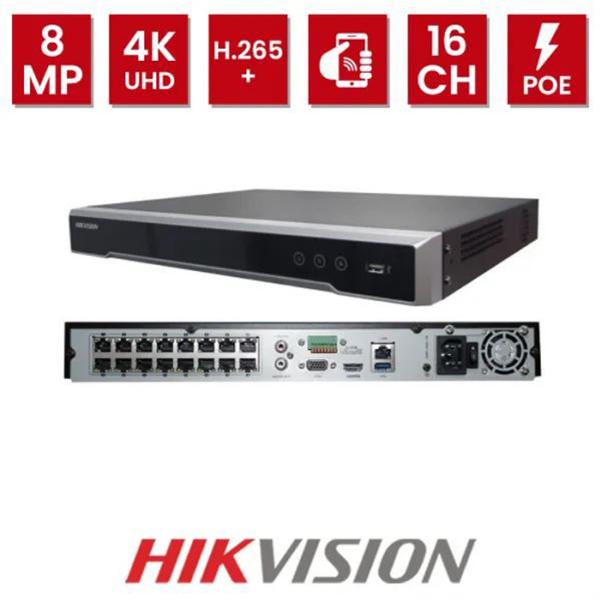Imagem de NVR 4K 8MP 8 CANAIS POE H.265 160MBPS 2 SATA S/HD DS-7608NI-K2/8P HIKVISION
